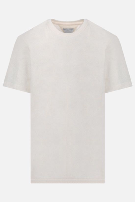 BOTTEGA VENETA: logo embroidered cotton t-shirt Color Neutral_1