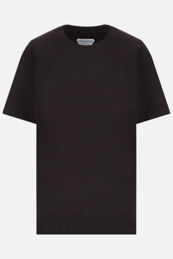BOTTEGA VENETA: logo embroiedered cotton t-shirt Color Brown_1