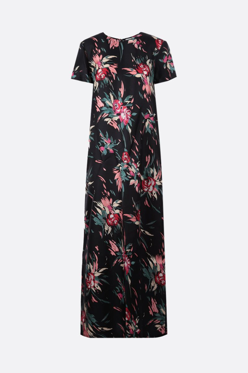 LA DOUBLE J: floral print silk long dress Color Black_1