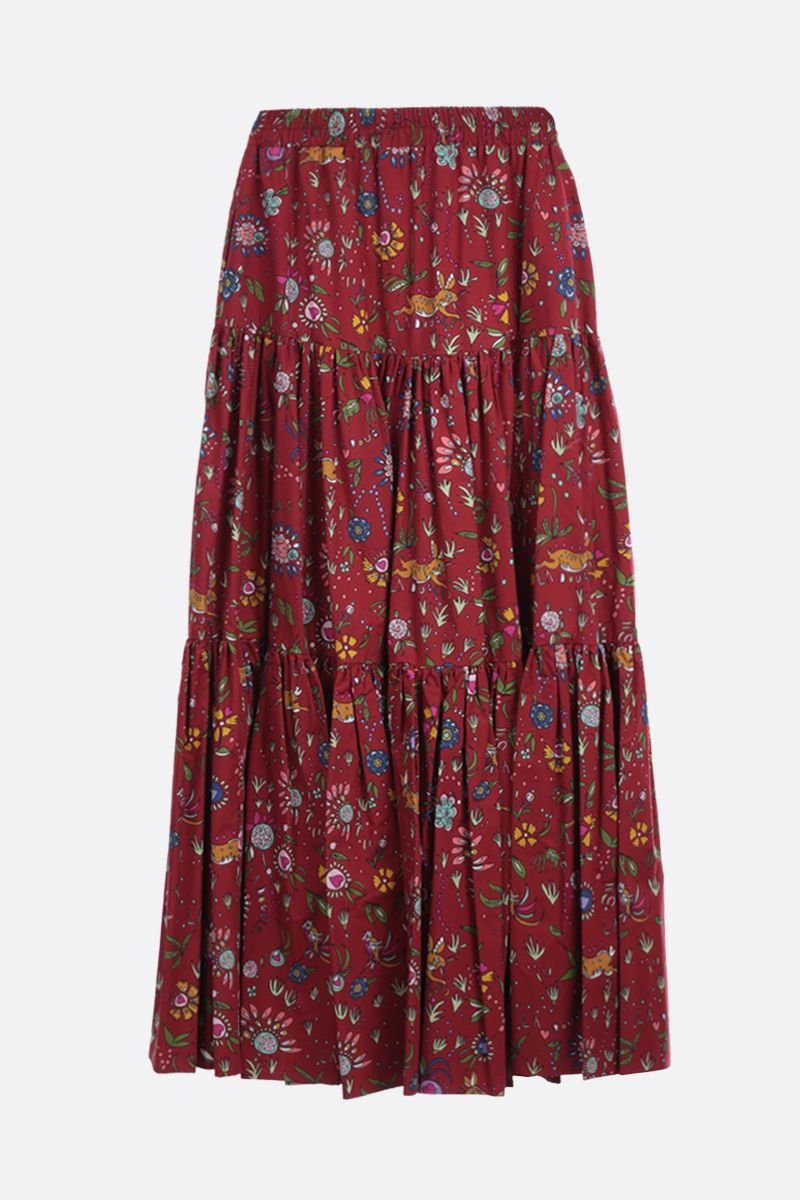 LA DOUBLE J: Babe print cotton flounced skirt Color Red_1