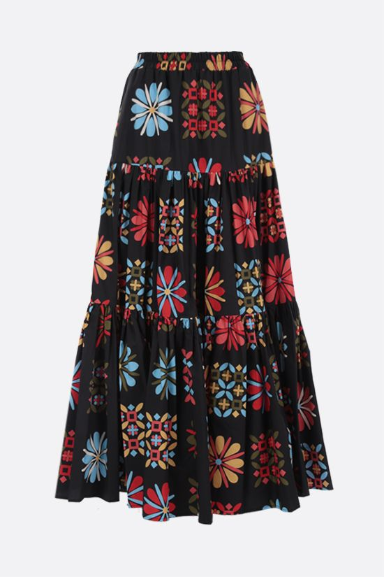 LA DOUBLE J: Vetrata Grande print cotton flounced skirt Color Multicolor_1