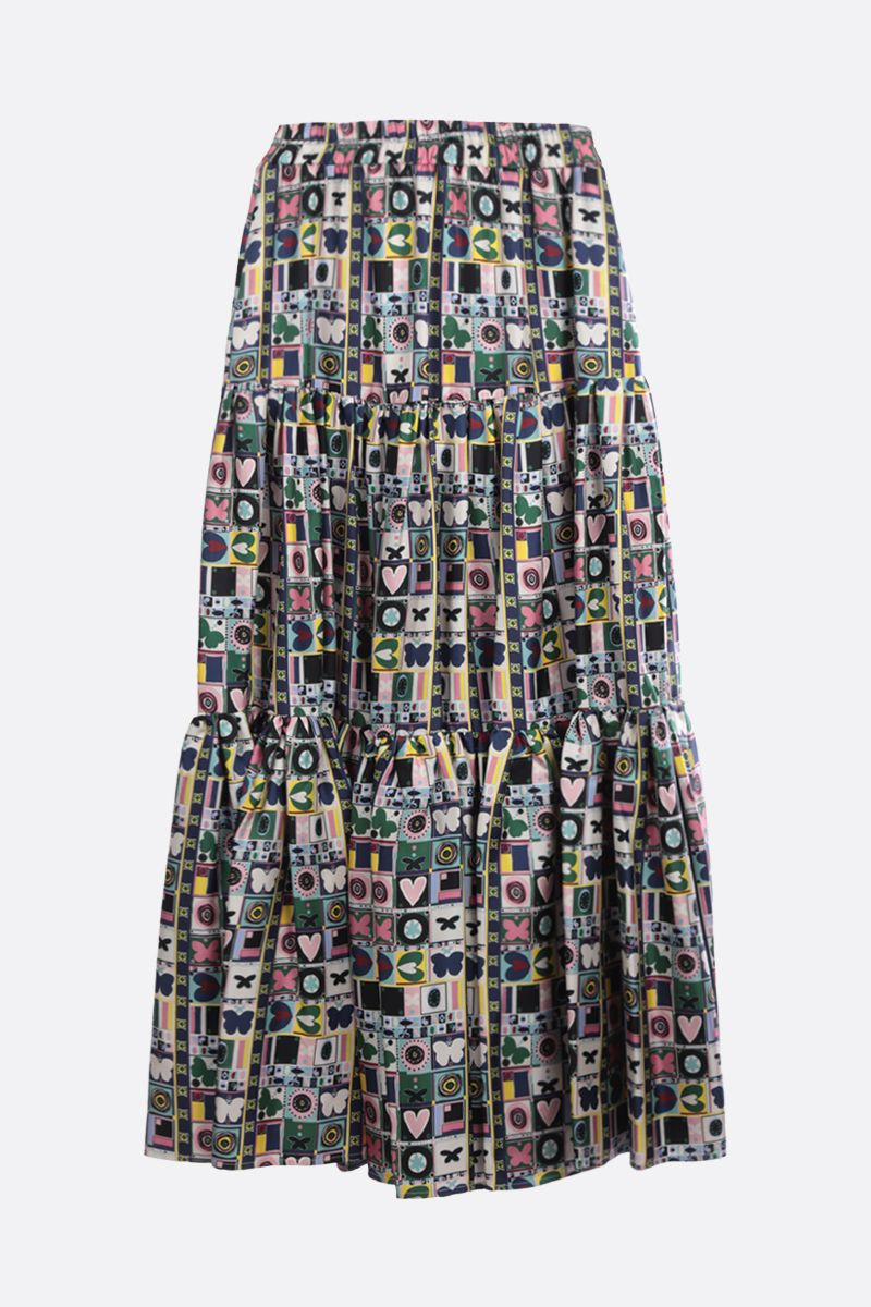 LA DOUBLE J: Francobollo print silk flounced skirt Color Multicolor_1