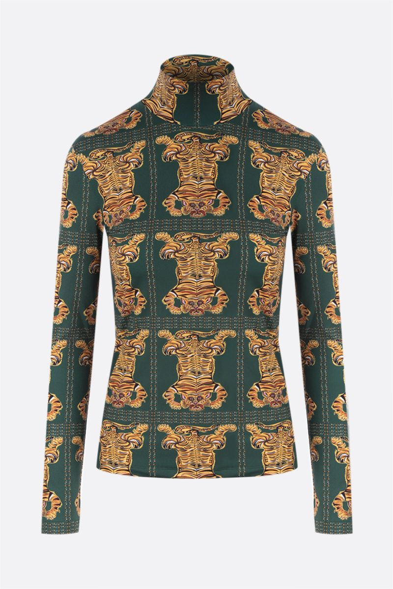 LA DOUBLE J: dolcevita in jersey stretch stampa Tiger Tiles Colore Green_1
