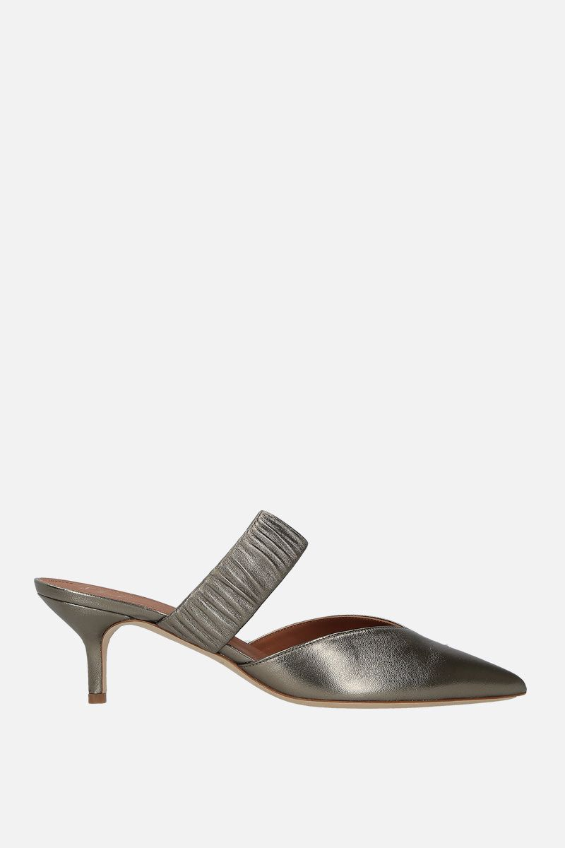 MALONE SOULIERS: Matilda mules in metallic nappa Color Grey_1
