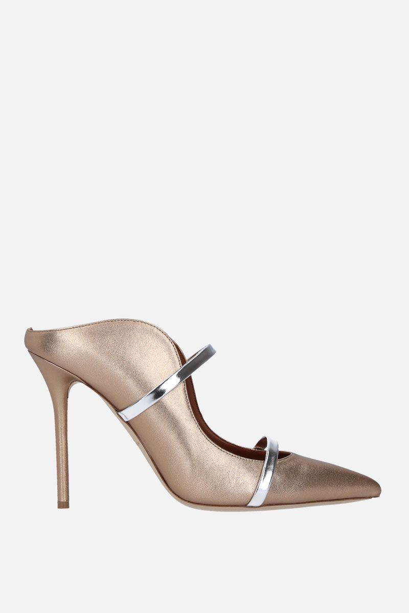 MALONE SOULIERS: Maureen soft laminated nappa mules Color Gold_1