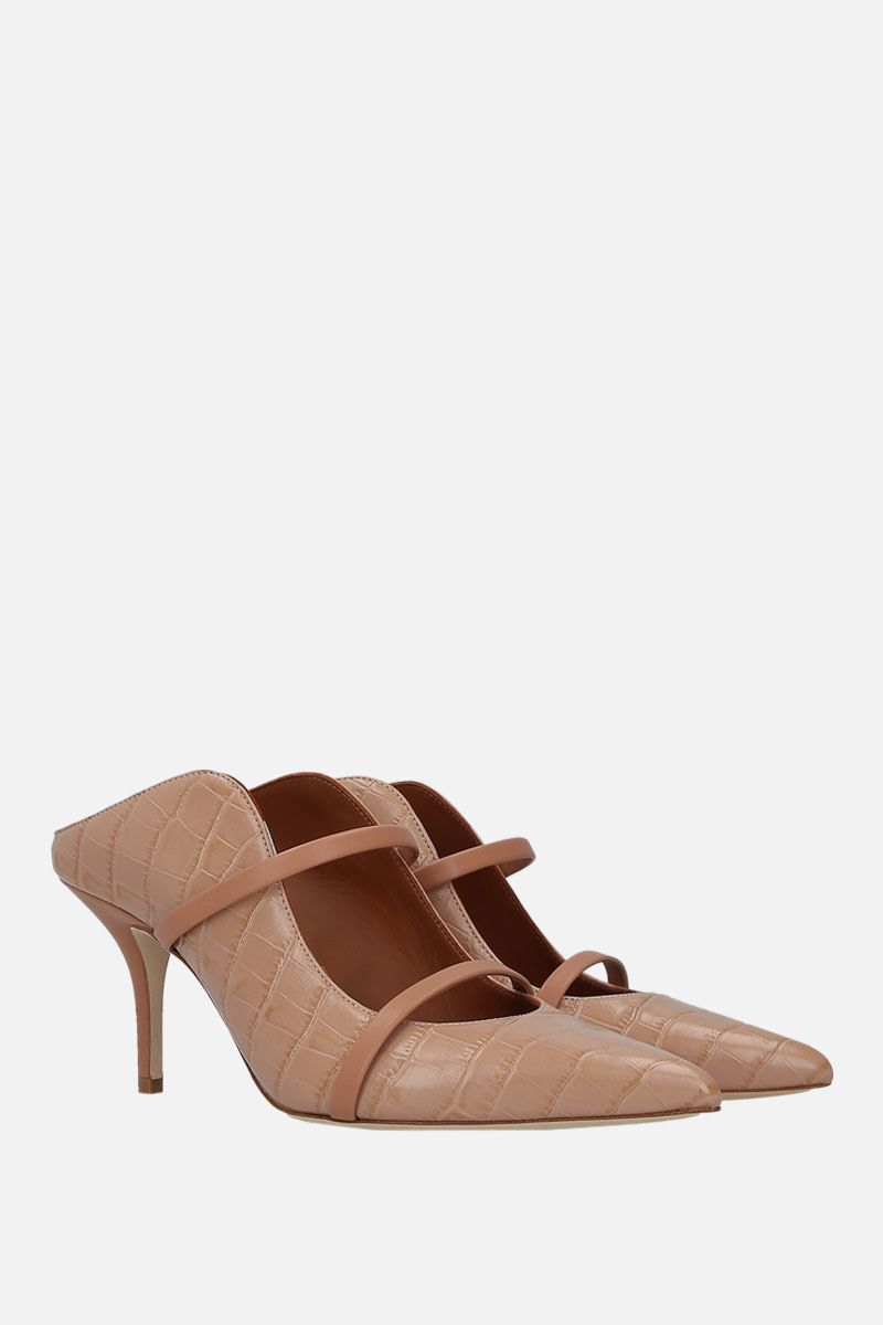 MALONE SOULIERS: mule Maureen in pelle stampa coccodrillo Colore Rosa_2
