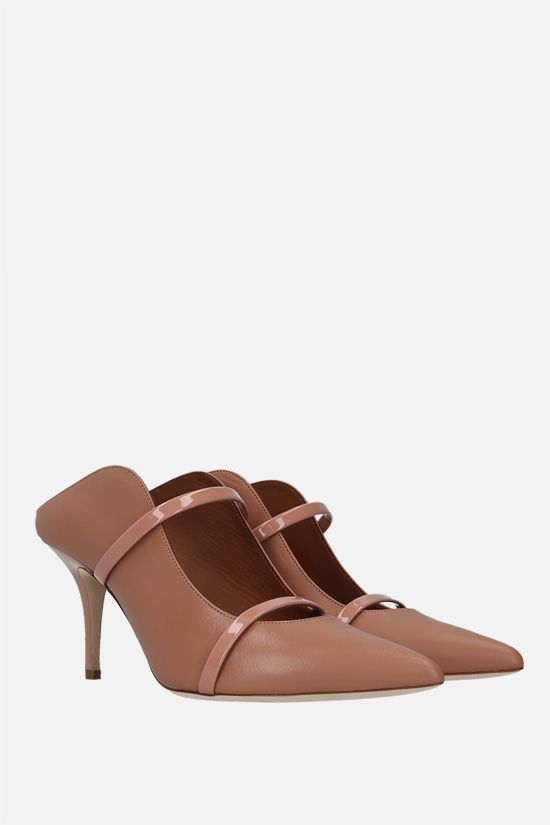 MALONE SOULIERS: Maureen nappa and patent leather mules Color Neutral_2