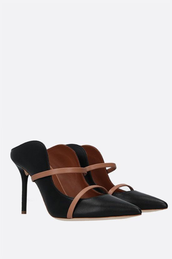 MALONE SOULIERS: Maureen bicolour nappa mules Color Black_2