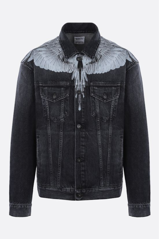 MARCELO BURLON COUNTY OF MILAN: giubbotto Wings in denim Colore Nero_1