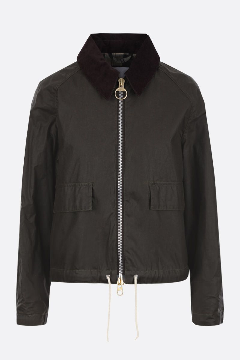 BARBOUR BY ALEXA CHUNG: giubbotto oversize Margot in canvas resinato Colore Verde_1