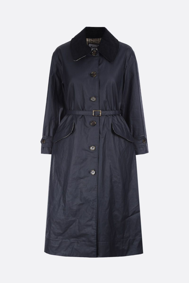 BARBOUR BY ALEXA CHUNG: Mildred oversized overocat in waxed canvas Color Blue_1