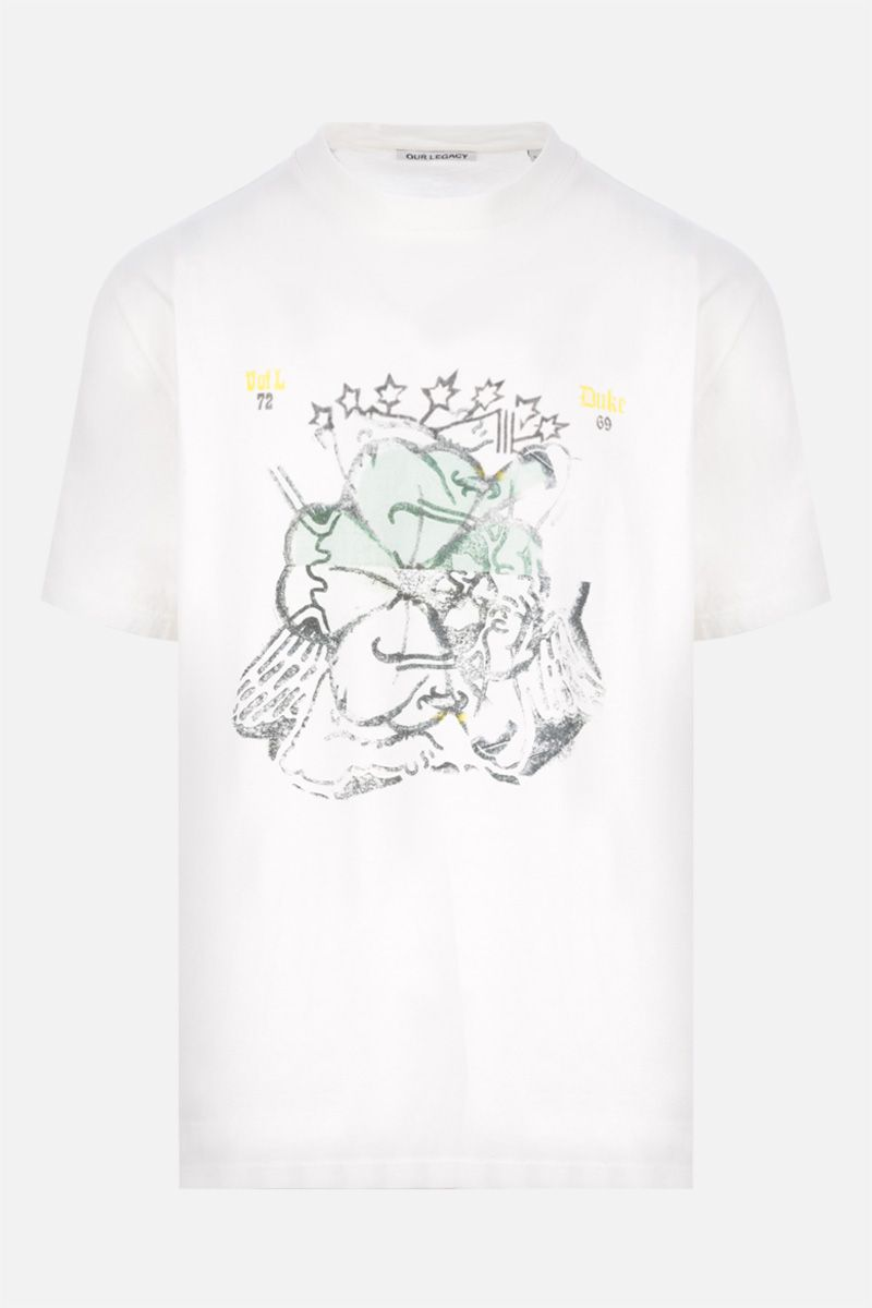 OUR LEGACY: t-shirt in cotone stampa Lucky Cherub Colore White_1