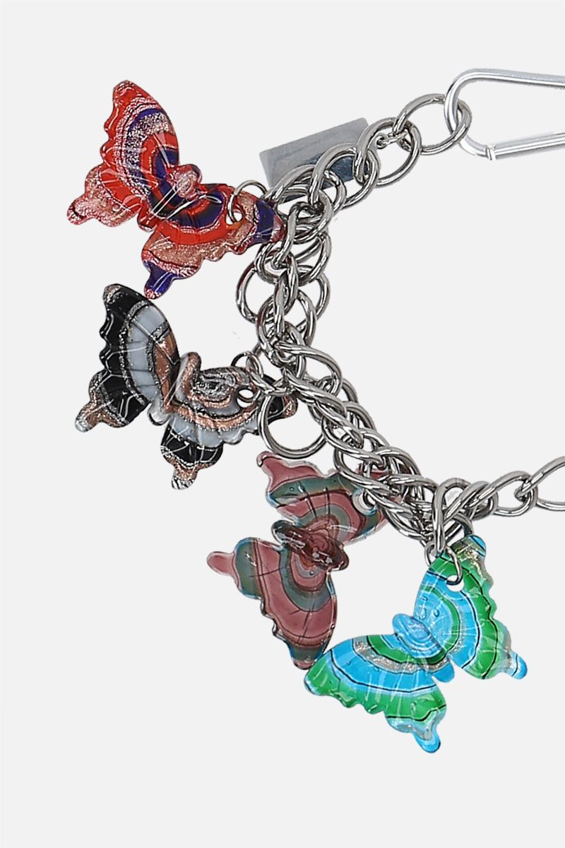 CHOPOVA LOWENA: Butterflies Charm steel and glass chain necklace Color Silver_2