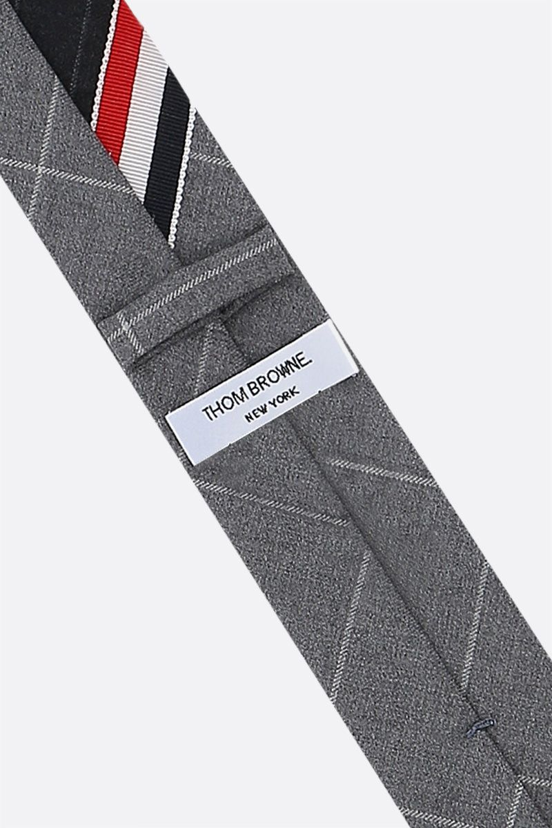 THOM BROWNE: tricolour-detailed wool patchwork tie Color Grey_2