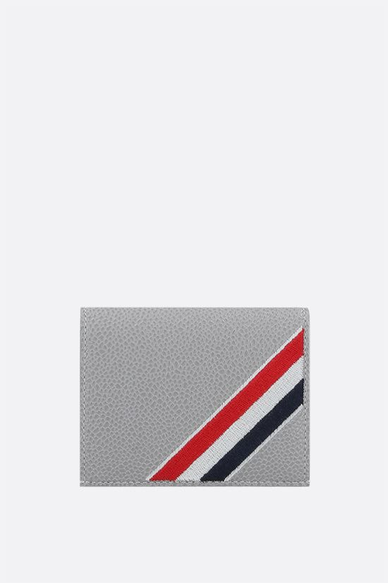 THOM BROWNE: tricolour-detailed pebble grain leather card case Color Grey_1