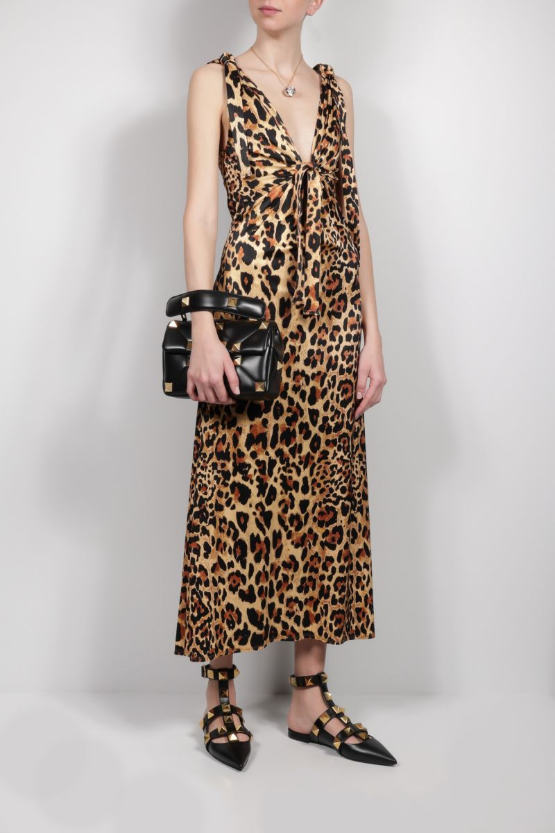 PACO RABANNE: leopard print jersey long dress Color Animalier_2