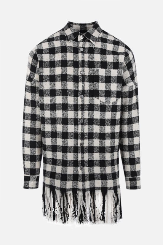PALM ANGELS: logo-detailed checkered bouclè overshirt Color Black_1
