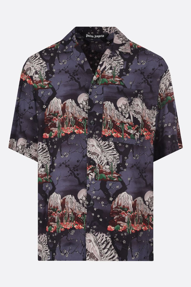 PALM ANGELS: Skull viscose oversize bowling shirt Color Multicolor_1