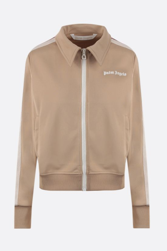 PALM ANGELS: shirt collar technical jersey full-zip sweatshirt Color Neutral_1