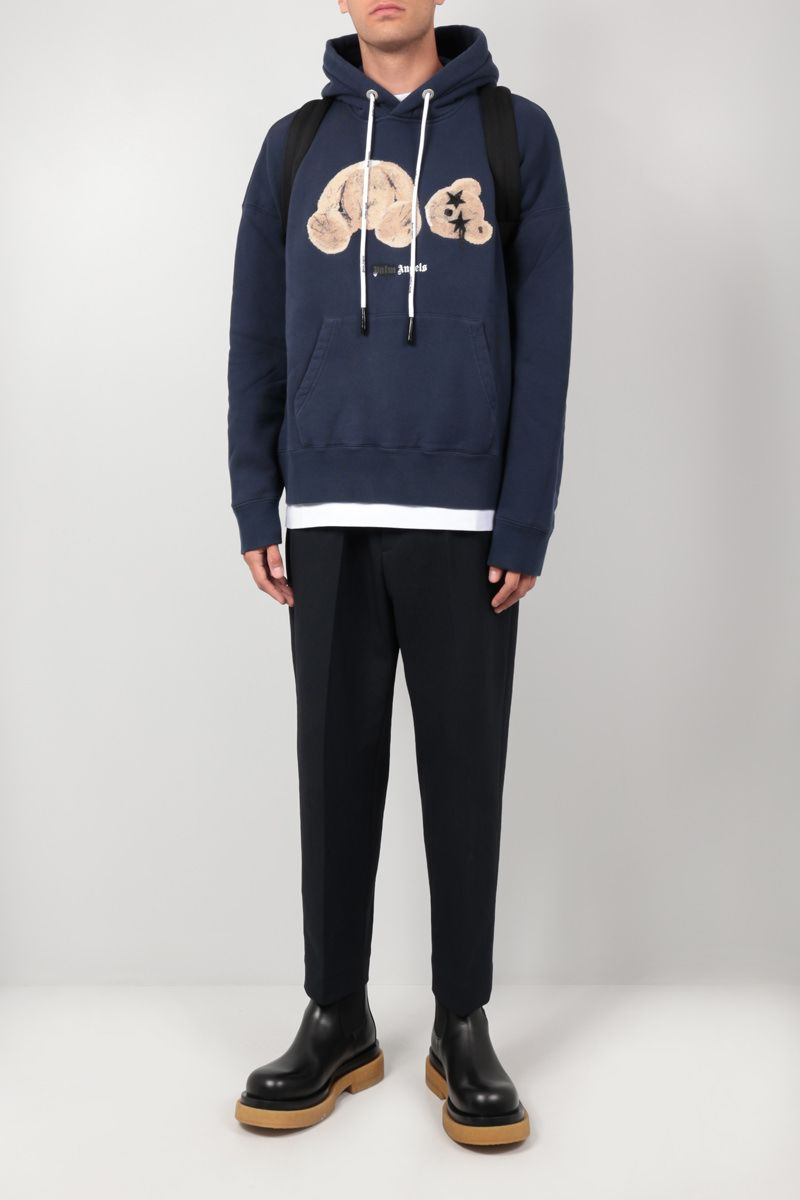 PALM ANGELS: Sprayed Palm Angels Bear cotton hoodie Color Blue_2