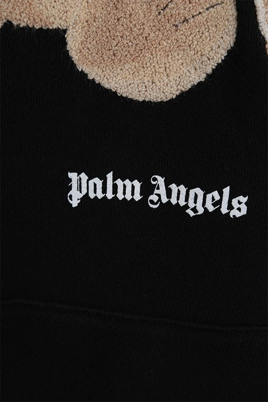 PALM ANGELS: Bear oversize cotton hoodie Color Black_4