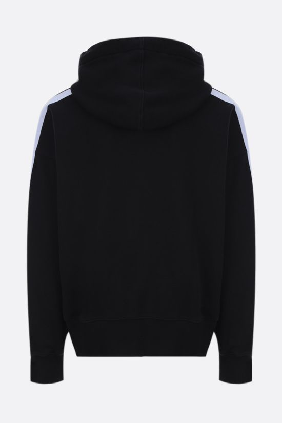 PALM ANGELS: contrasting bands oversize cotton hoodie Color Black_2