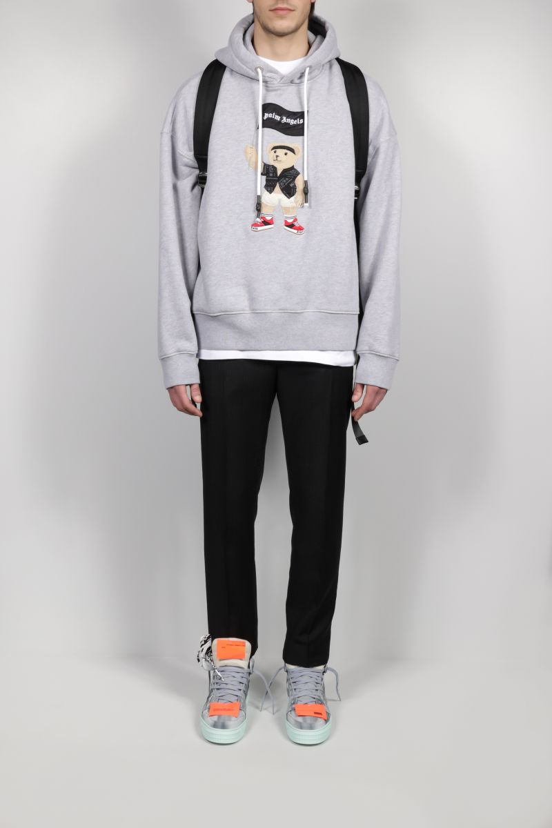 PALM ANGELS: Pirate Bear oversize cotton hoodie Color Grey_2
