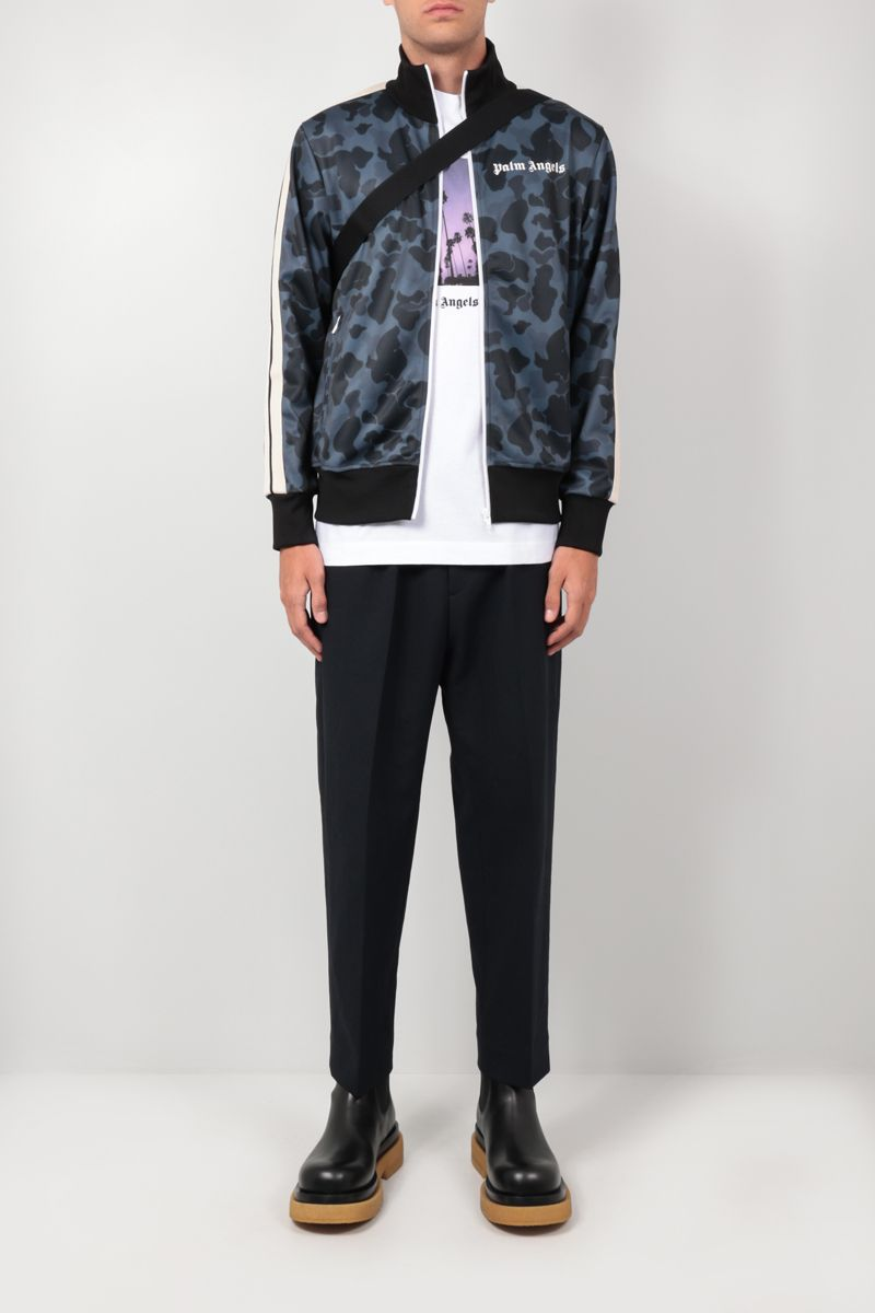 PALM ANGELS: camouflage print technical jersey track jacket Color Black_2