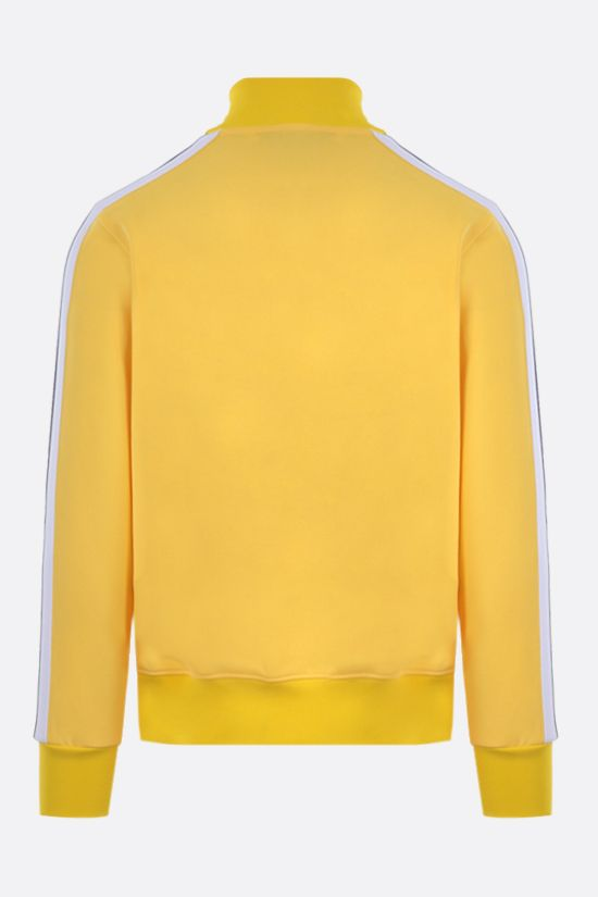 PALM ANGELS: logo print technical jersey full-zip sweatshirt Color Yellow_2