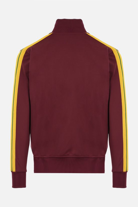 PALM ANGELS: felpa full-zip in jersey tecnico stampa logo Colore Rosso_2