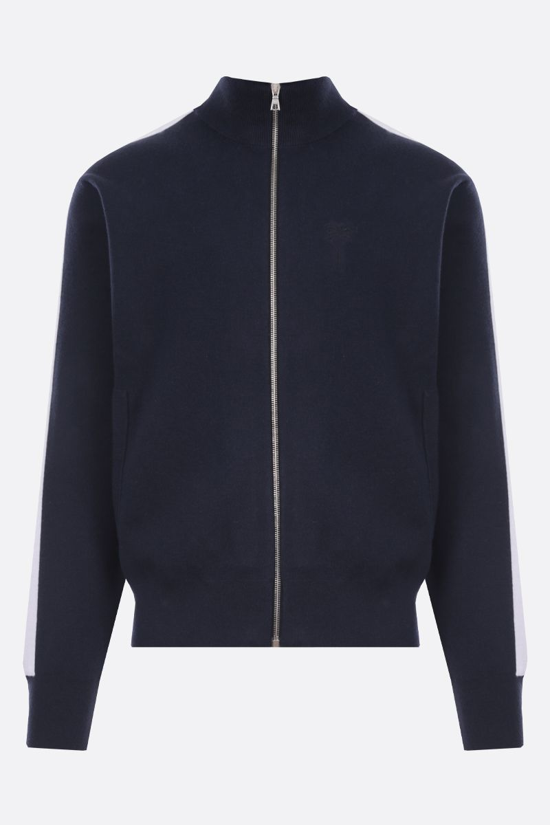 PALM ANGELS: Palm Tree embroidered cashmere wool blend full-zip cardigan Color Blue_1