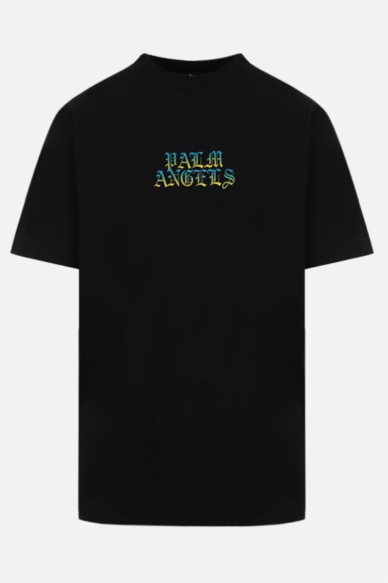 PALM ANGELS: t-shirt Hue Gothic Logo in cotone Colore Nero_1