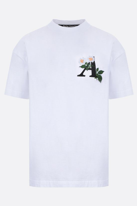PALM ANGELS: t-shirt Daisy Logo in cotone Colore Bianco_1