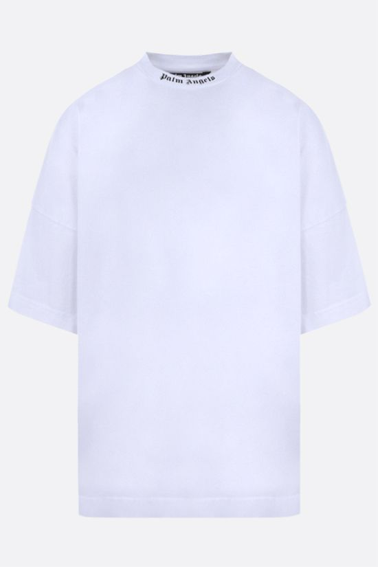 PALM ANGELS: logo print cotton oversize t-shirt Color White_1