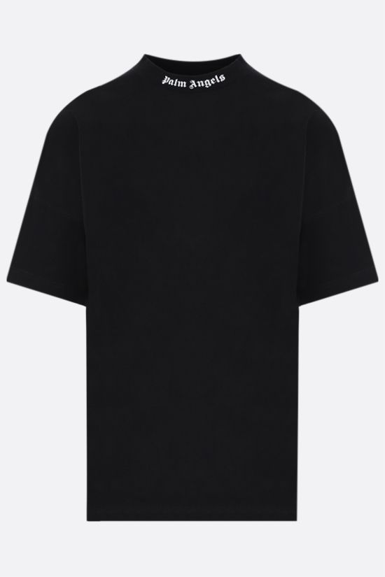 PALM ANGELS: logo print cotton oversize t-shirt Color Black_1