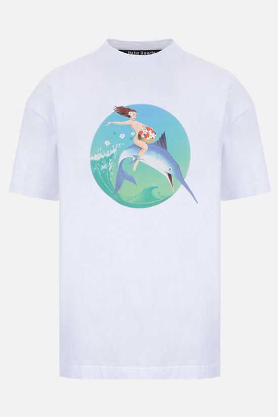 PALM ANGELS: t-shirt oversize Fishing Club in cotone Colore Bianco_1
