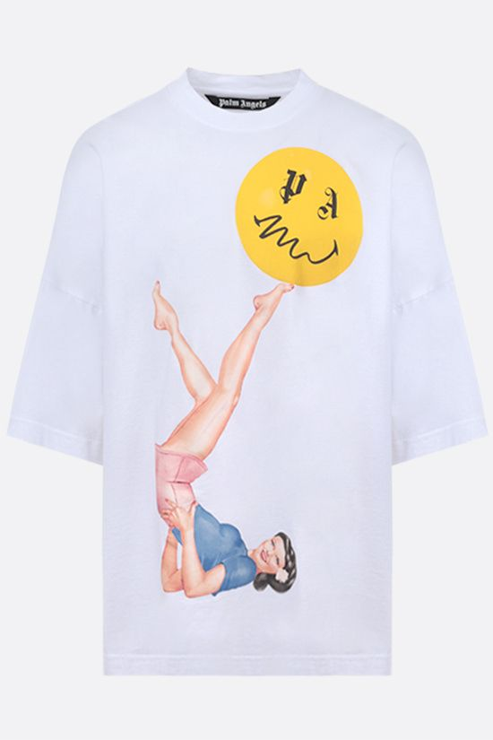 PALM ANGELS: t-shirt Juggler Pin Up in cotone Colore Bianco_1