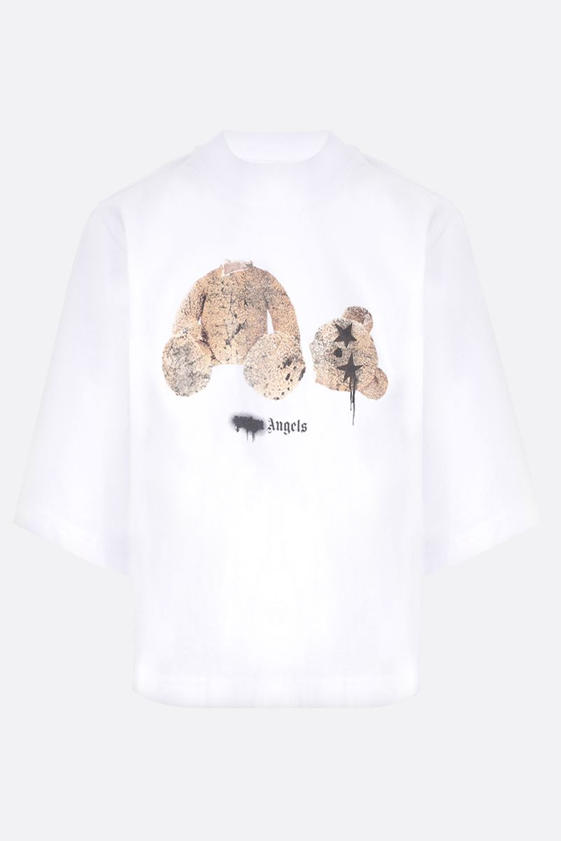 PALM ANGELS: Sprayed Palm Angels Bear cropped cotton t-shirt Color White_1