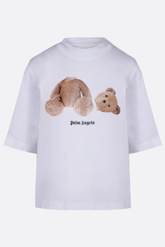 PALM ANGELS: Bear cropped cotton t-shirt Color White_1