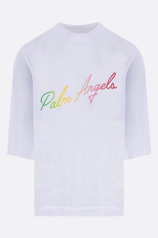 PALM ANGELS: Miami Logo cropped cotton t-shirt Color White_1