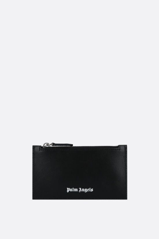 PALM ANGELS: porta carte con zip Essential in pelle liscia Colore Nero_1
