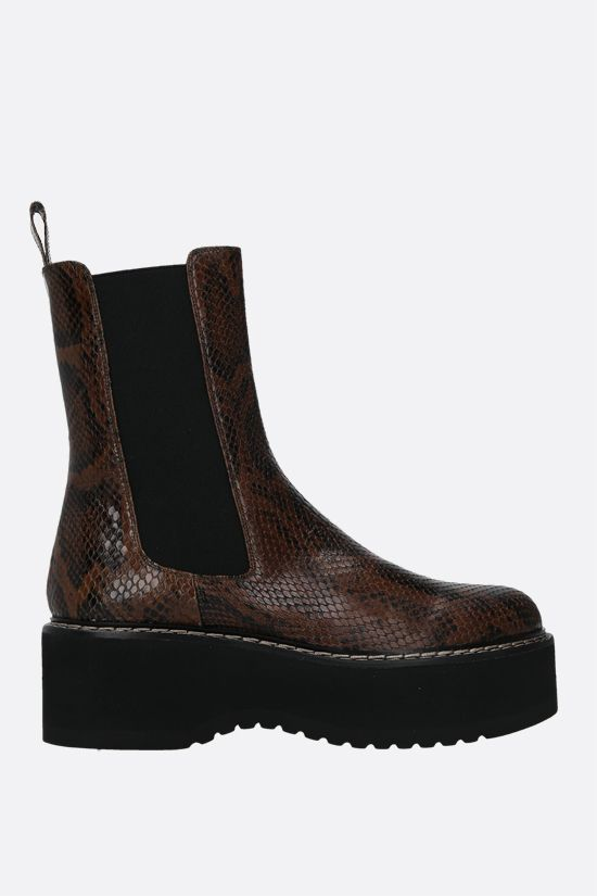 PARIS TEXAS: python-embossed leather flatform boots Color Brown_1