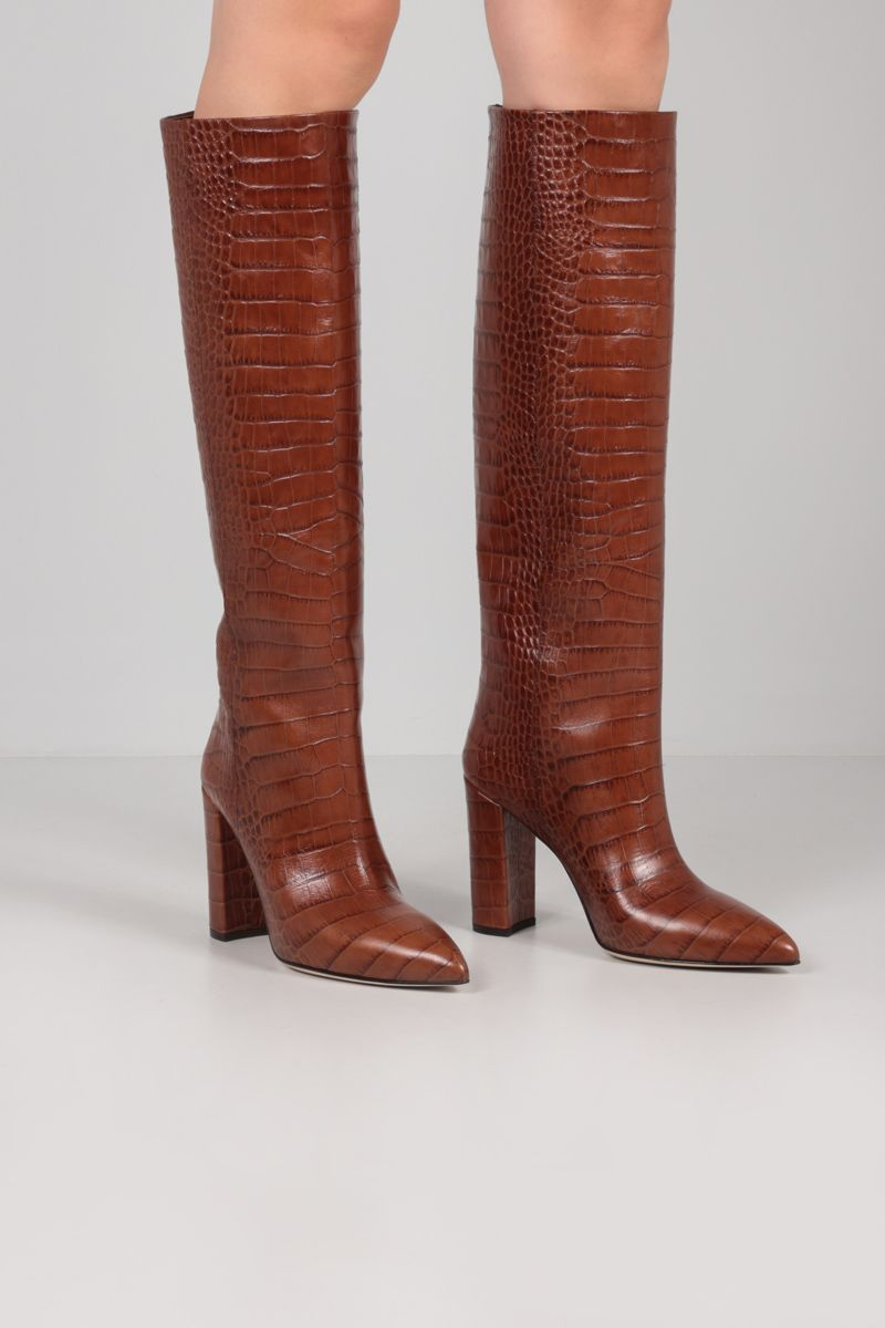 PARIS TEXAS: crocodile embossed leather boots Color Brown_2