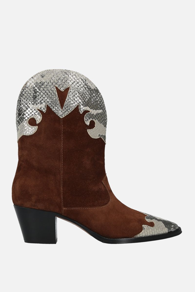PARIS TEXAS: suede and python embossed leather western boots Color Brown_1