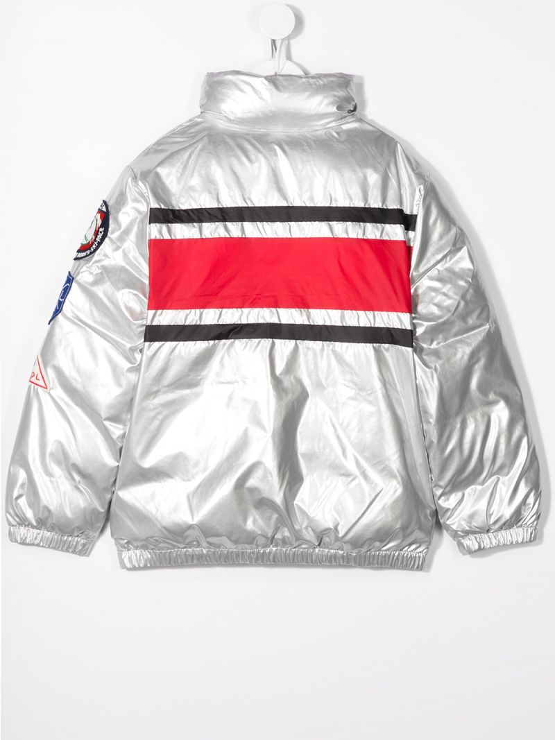 RALPH LAUREN KIDS: patch-detailed nylon down jacket Color Silver_2