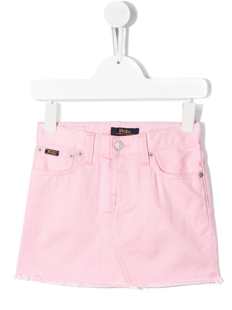 RALPH LAUREN KIDS: gonna corta in denim Colore Rosa_1