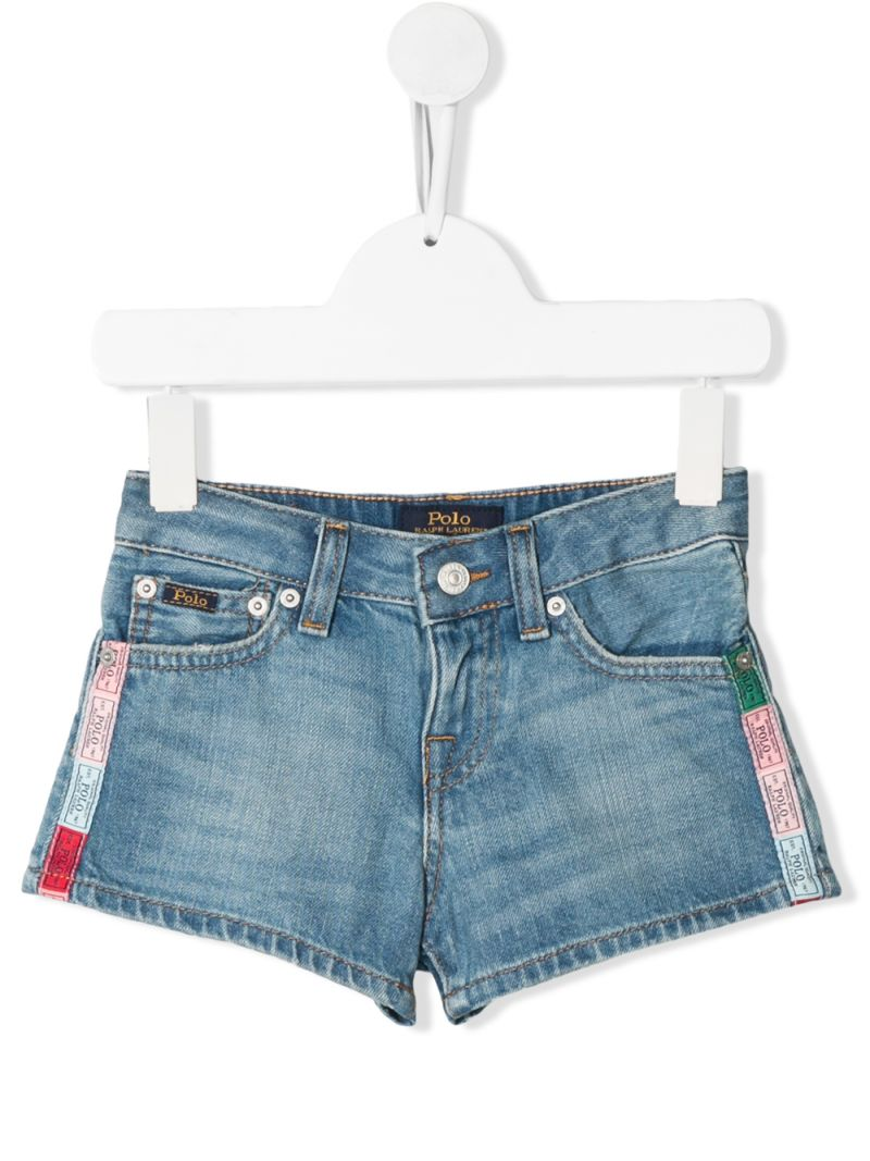 RALPH LAUREN KIDS: pantalone corto in denim con bande logate Colore Blu_1