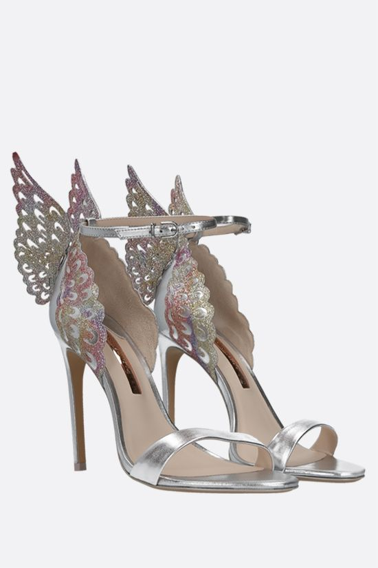 SOPHIA WEBSTER: Evangeline laminated leather and glitter fabric sandals Color Silver_2