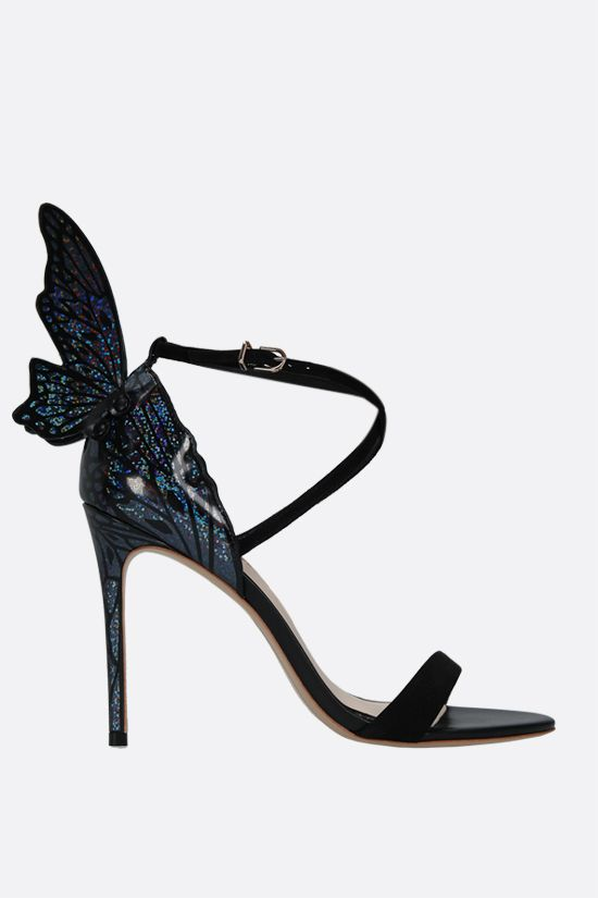 SOPHIA WEBSTER: Talulah suede and holographic leather sandals Color Black_1