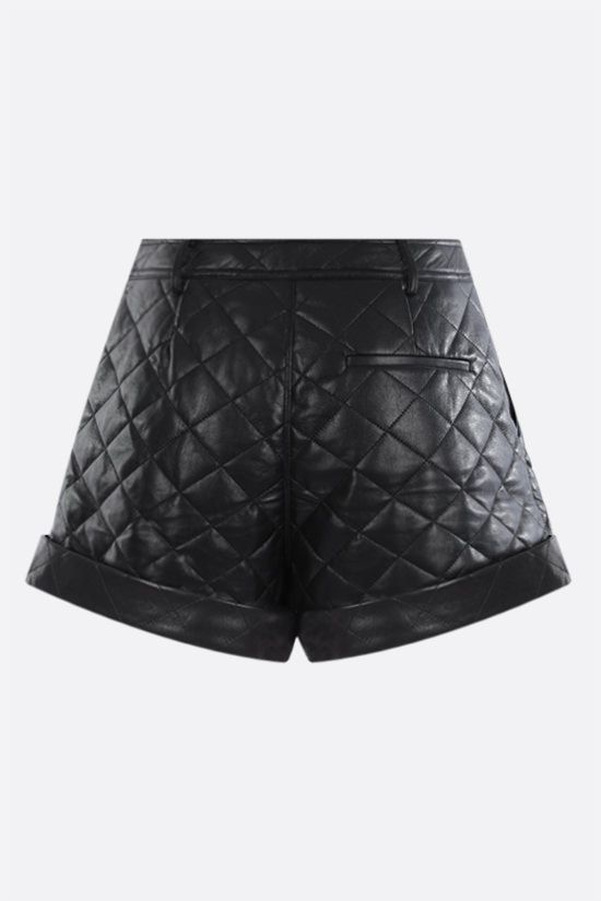 SELF PORTRAIT: quilted faux leather shorts Color Black_2